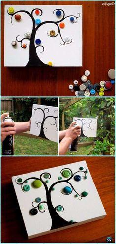 DIY Glossy Button Tree Canvas Wall Art Instruction - DIY Canvas Wall Art Ideas Tutorials #Crafts