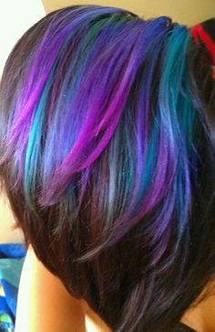 Image result for brunette with purple & teal highlights