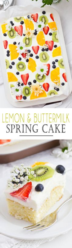 Zitronen-Buttermilch Blechkuchen – KüchenDeern Ola olgaseger Backen Lemon & Buttermilk Spring Cake with fresh fruits and a rerfreshing Cream Pound Cake Recipes, Cheesecake Recipes, Cupcake Recipes, Cookie Recipes, Dessert Recipes, Oreo Cupcakes, Cupcake Cakes, Spring Cake, Sweet Bakery