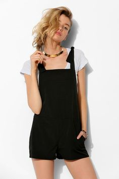 Sparkle & Fade Tie-Strap Front-Pocket Romper #UrbanOutfitters