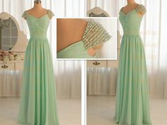Custom Double-Shoulder Floor-length With Beading Chiffon Bridesmaid Dresses Long Prom Dresses Formal Dresses Evening Dresses Party Dresses