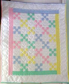 Traditional Amish 9-Patch Infant Quilt New Hand Quilted