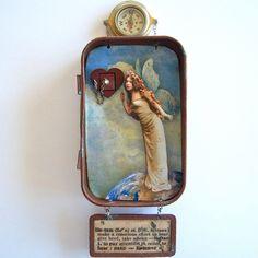 Mixed Media Altoid Tin Shadow Box Assemblage Shrine - Listen to Your Heart