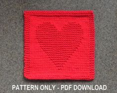 CAT with HEART Knit Pattern for Dishcloth or Wash Cloth or Quilt Block  **THIS IS AN INSTANTLY DOWNLOADABLE PATTERN -- in English only -- PDF FORMAT**   -- >>>>> PERSONAL USE ONLY <<<<< -- (see details at bottom of listing)  The cloth pictured is NOT included but is what your final product will look like. Check my shop for inventory if you are looking for finished cloths: https://www.etsy.com/shop/auntsusanscloset or send me a convo if you are...