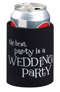 Wedding Party Cup Cozy Favors - a drink can hugger everyone will love to use!