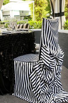 Classic b stripe Diana Chivari chair cover by Linen Striped Wedding, Chiavari Chairs, Wedding Linens, Modern Wedding Invitations, Chair Covers, Black White Stripes, California Wedding, Fashion Shoot, Santa Monica