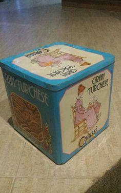 Scatola di latta quadrata marca Colussi, biscotti Gran Turchese