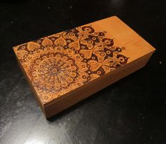 Original Artwork, Mandala Pyrography Wooden Box