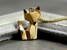 Origami Fuchs Kette handvergoldet