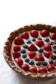 Summer Berry + Cashew Cream Pie *Oats *Dates *Cashews *Coconut oil *Maple syrup *Vanilla *Lemon juice *Strawberries *Blueberries