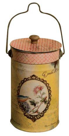"Bird Cameo Lidded Tin. Height: 8.5"" - 22cm Diameter: 4.5"" - 12cm. Height including handle: 12"" - 31cm"
