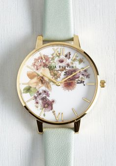 Time of the Season Watch in Mint and Gold by Olivia Burton - Print, Luxe, Statement, Urban, Darling, Gold, International Designer, Mint, Multi, Floral, Summer