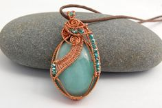 Wire wrapping can look so sloppy but this is gorgeous! // $58.00  Copper Wire Wrapped Amazonite Pendant