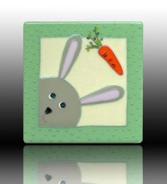 fused glass bunny plate - so cute