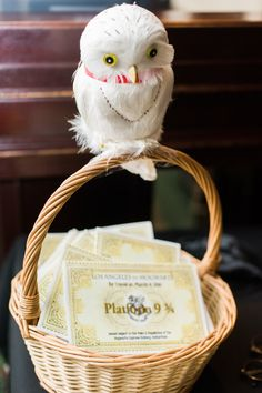 Harry Potter themed wedding (so well done!) Hedwig With Wedding Programs