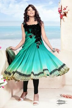 Green Satin Salwar kameez with Embroidered and Lace Work - Rs. 9,199.  #zohraa