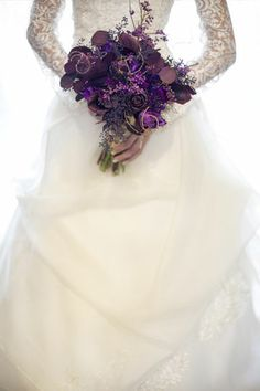 inspiration for winter wedding, lace sleeves, purple bouquet, wedding dress, gorgeous, love