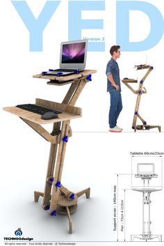 YED standing desk for laptop. of TECHNOOdesign on Etsy - chair Awesome Woodworking Ideas, Best Woodworking Tools, Woodworking Projects, Woodworking Books, Cool Desk Accessories, Diy Standing Desk, Diy Furniture, Furniture Design, 3d Printing Diy