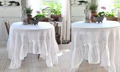 flounced linen tablecloth
