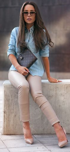 Blush Leather And Denim Inspiration Outfit