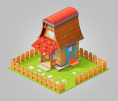 Isometric houses on Behance