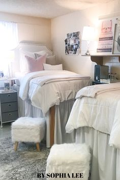 im in love with these trendy dorm rooms!! definitely copying these ideas for my dorm room this year. College Dorm Rooms, Room Decor, Bed, Inspiration, Furniture, Ideas, Home, Biblical Inspiration, Stream Bed