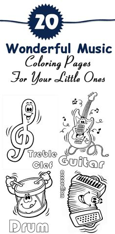 Want to introduce your kid to the wonderful world of music & spark an interest to promote instrument recognition? Get 20 free printable music coloring pages