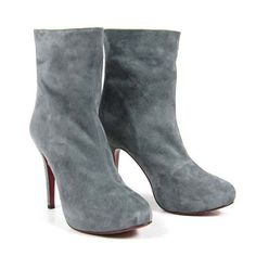 Noticeable & Discount Christian Louboutin Miss Clichy 140 Ankle Boots Gray Outlet | Louboutin Over The Knee Lace Up Boots