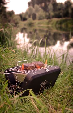 """A mini suitcase-style portable barbecue. Ideal for the beach, camping or festivals alike.  Comes emblazoned with the words """"The Adventure Begins"""". Boxed in a smart kraft box with vintage design. Available from www.annabeljames.co.uk"""