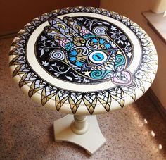 SALE... Hand Painted Hamsa Side Table by StephaniesApartment, $200.00