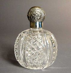 Antique Victorian Sterling Cut Glass Scent Bottle