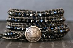 wrap bracelet- black diamond crystal on pewter leather- smoke gray beaded leather 5 wrap bracelet on Etsy, $55.00