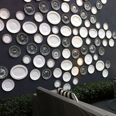 @KellyWearstler used #plates of different shapes and patterns to creatively #decorate Viceroy Santa Monica's outdoor wall.