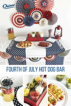 Whether it's ketchup, mustard or all of the above, this hot dog bar is complete with all the toppings your guests desire! 4th Of July Celebration, 4th Of July Party, Happy Fourth Of July, July 4th, Independence Day Wallpaper, Picnic Theme, Hot Dog Bar, 4th Of July Decorations, Patriotic Party