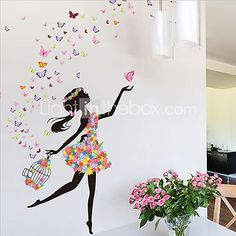 Flower Faerie Dance Girl Wall Stickers Living Room Bedroom Backdrop Romantic Glass Decorative Stickers 2017 - $7.99