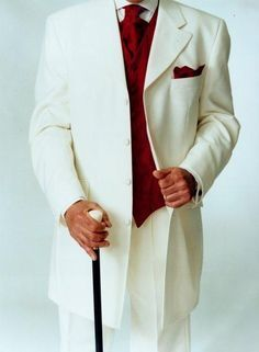 White tux with red vest.    SKU# JOS_106 Off White Tuxedo Fashion Men's Suits Tuxedos / Formalwear White/Off White Tuxedos