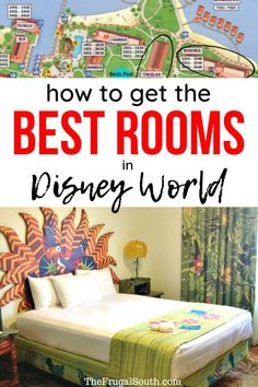 How to get the best resort hotel rooms at Walt Disney World. Get the room you want with a room request, book a guaranteed room category, and more tips for your Disney World vacation. Best Disney World Resorts, Disney World Vacation Planning, Walt Disney World Vacations, Disney Planning, Disney Travel, Trip Planning, Disney Land, Map Of Disney World, Disney Parks