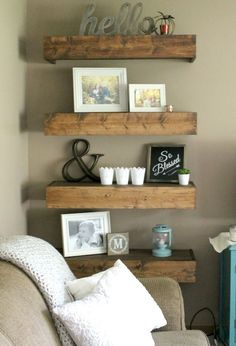 Nice 86 Rustic Living Room Decor with Floating Shelves Ideas https://crowdecor.com/86-rustic-living-room-decor-floating-shelves-ideas/ #FloatingShelves