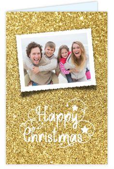 Schitterende foto kerstkaart met goud schittering en sierkrulletters. Gratis verzending!