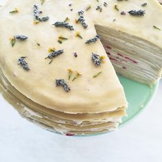 Delicate floral crepe cake