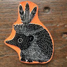tampon hérisson indien carved stamp idea