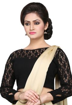 Faux georgette and chantelle net Its lining is of taffeta It has a side zipper closure Readymade Saree Jacket Designs, Netted Blouse Designs, Saree Blouse Neck Designs, Fancy Blouse Designs, Hand Work Blouse Design, Stylish Blouse Design, Net Saree Blouse, Designer Blouses Online, Designer Blouse Patterns