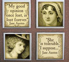Jane Austen Pride Prejudice Quotes Drink Coasters literary-accessories