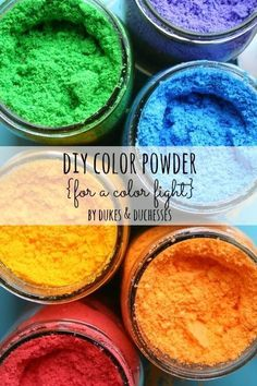 Throw a color fight party or host a color run with this easy DIY color powder recipe that uses cornstarch and coloring!