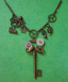 Charming Man Large  Steampunk Pendant Charm Necklace Handmade Arts and Craft, by ArtandThingsUK on Etsy
