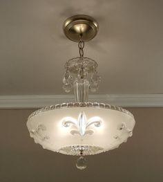 Antique Chandelier 1930's Vintage Fleur-de-Lis Winter White Pressed Glass Ceiling Light Fixture Rewired