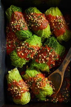These tasty vegan cabbage rolls are stuffed with spiced and diced potatoes, lemony couscous, and finely chopped kale; drizzled with a tomato-based sauce; and sprinkled with pine nuts. With its delicate ruffled leaves and relatively subtle flavor, savoy cabbage is a good one to try if you're a bit cabbage-shy.