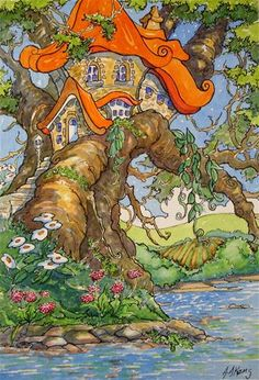 """Daily Paintworks - """"Tree House by the Water Storybook Cottage Series"""" - Original Fine Art for Sale - © Alida Akers"""