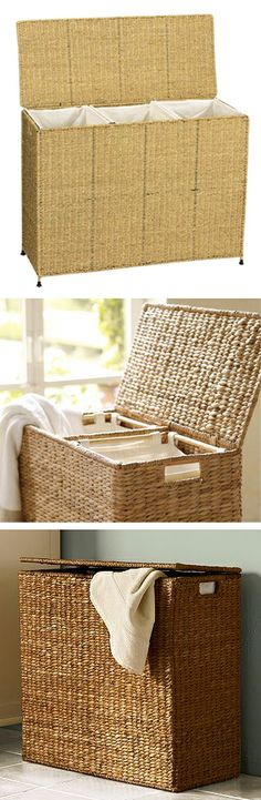 Sea Grass Laundry Sorter // with 3 removable canvas bags, clever idea, sort as you go to make laundry day easy!