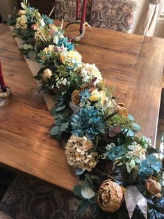 Custom order made at my shop OutdoorzInTrendz! Let me know what I can create for you! Door Hanging Decorations, Diy Diwali Decorations, Christmas Table Decorations, Wooden Box Centerpiece, Floral Centerpieces, Fall Dining Table, Large Floral Arrangements, Easy Christmas Ornaments, Funeral Flowers